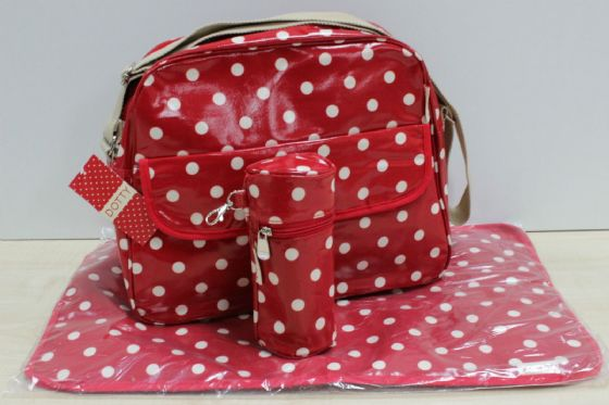 Dotty Baby Nappy Changing Bag, Mat and Bottle holder, wipe clean, 3 piece set!!